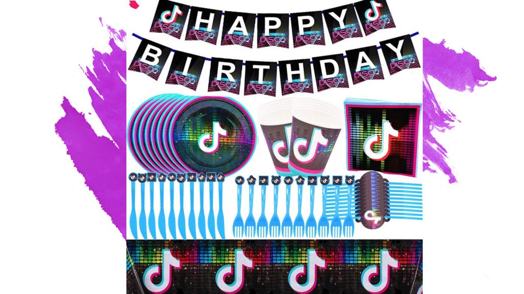 utensilios fiesta tiktok tiktoker tik tok niña niño cumpleaños